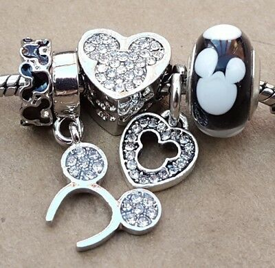 Jewelry & Watches 2pcs Disney Mickey Mouse Ears Bead and Dangle Charm For European Style Bracelet charms