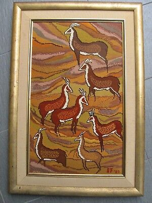 Completed wool FRAMED TAPESTRY South AFRICA Antelopes Beryl Foster  52 x 76cm