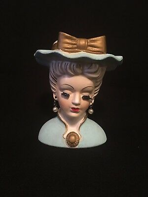 Vintage Lady Mid 20th Century Head Vase With Large Blue Hat And Brown Ribbon