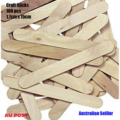 100 Wooden Craft Stick Paddle Pop Popsicle Ice Cream Sticks Coffee Stirrers 15cm