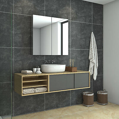 4mm HD Bathroom Mirror Cabinet 750 Stainless Steel Storage Shaving Wall Hung