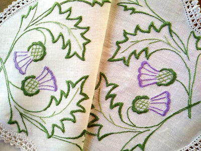 Gorgeous Stylised Scottish Thistles ~ Hand Embroidered Centrepiece/Mat