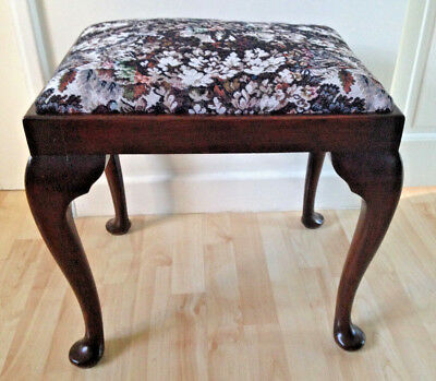 Vintage Mahogany Wooden Tapestry/floral Piano/bedroom Dressing Table Stool