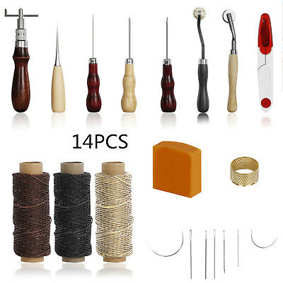 14Tlg. Leder Werkzeug Stitching Craft Hand Sewing Stitching Groover Kit Sets Neu