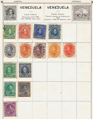 Venezuela 1882 to 1911 collection on 2 album pages 18 stamps  Mint MH and Used