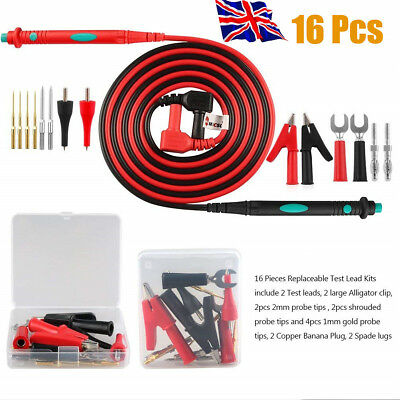 16pcs Electronic Multimeter Meter Test Leads Set With Alligator Clip Probes Tips