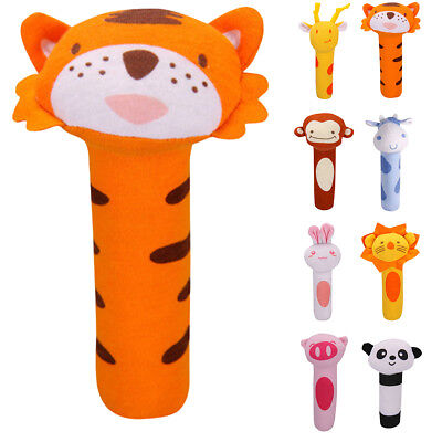 Baby Soft Animal Toy Rattle Squeaker Plush Suitable For Infant UK kids 17*10cm