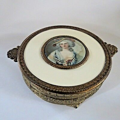 """Vintage PNCW Gold Brass Trinket candy dish Celluloid French Woman 8.5"""" USA 30's"""