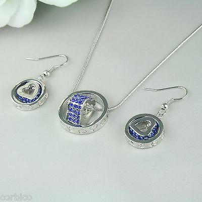 S2 Blue Crystals Love Hearts Ring Pendant Necklace Earrings Set