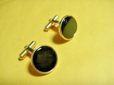 VINTAGE Gorgeous Cufflinks Men 14K Yellow Gold Plated Black Onyx SET