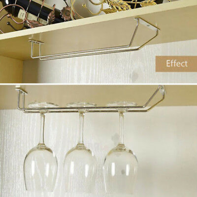 Wine Rack Glass Holder Hanging Bar Stemware Hanging Chrome-plated Shelf  Storage