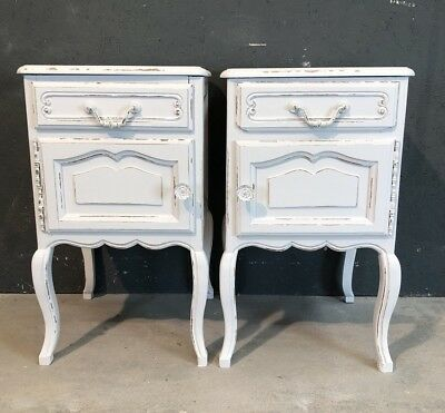 Vintage French Bedside tables / Painted Shabby Chic Style (VB131)