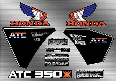 1985 85' ATC 350X honda decal kit ATV vintage trike sticker 9pc Graphics