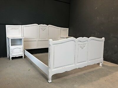Vintage French King size bed And Bedsides/ Painted Shabby Chic Style (VB134)