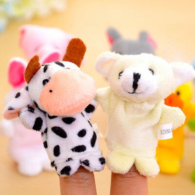 2PCX Family Finger Puppets Cloth Doll Baby Educational Hand Cartoon Animal Toy