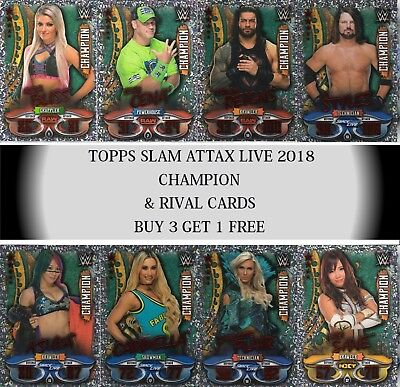 Topps WWE Slam Attax LIVE 2018 Champion & Rival cards
