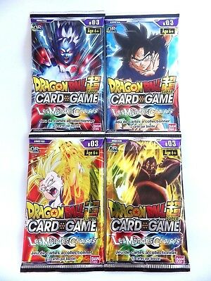 Dragon Ball Super Card Game carte lot 4x booster Les mondes croisées VF Neuf