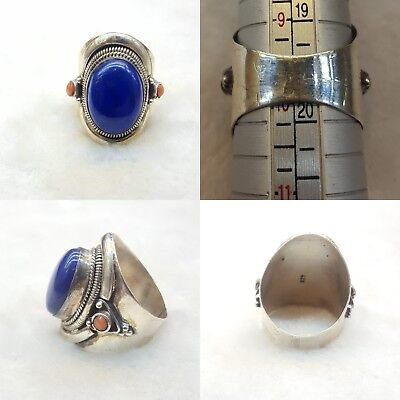 Wonderful Lapis Ring With Stunning Vintage Silver 92.5 #3y