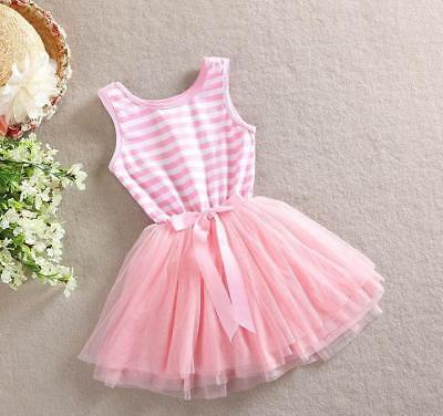 LIGHT PINK Striped Tutu SUMMER DRESS Bow BABY GIRL DRESS Princess Party Present