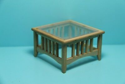 Dollhouse Miniature Unfinished Wood Coffee Table with Glass ~ GW026