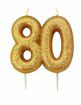 ** 9CM GOLD GLITTER NUMBER 80 CANDLE 80th BIRTHDAY PARTY CAKE DECORATION NEW **