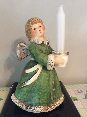 "Goebel Angel Candleholder-Frobek-Huge 9"" Tall-Green"