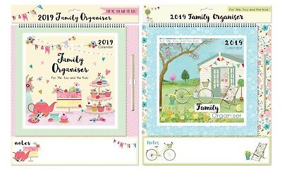 2019 Family Organiser Calendar Planner One Month to View Wipe off Pen and Note