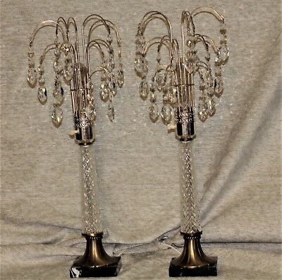 """Antique Crystal Brass Marble Pair Waterfall Lamps  22"""" Tall"""
