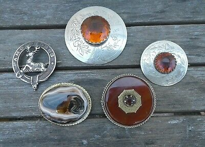 Collection  Of Five Vintage / Antique Scottish  Brooches , Agates Cairngorms