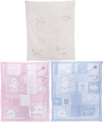 Obaby B IS FOR BEAR QUILT & BUMPER COT/COT-BED SET Baby/Toddler Nursery BNIP