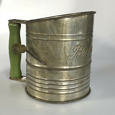 Vintage Bromwell Sifter with Green Wooden Handles / Script Logo