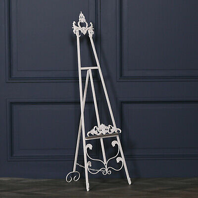 French Style Tall Cream Freestanding Metal Easel Wedding Picture Display 165cm