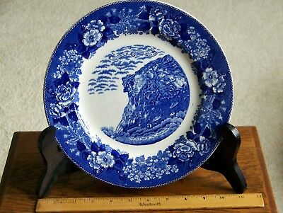 """Old Man of Mountain Blue Staffordshire Souvenir Plate 10"""""""