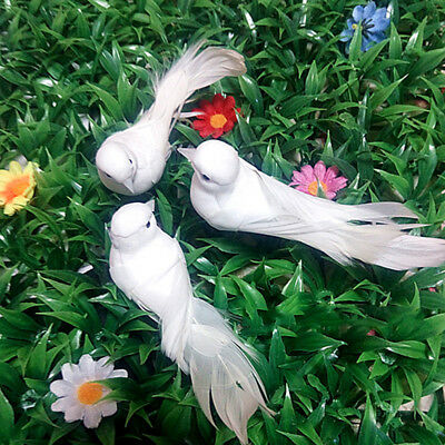 Cute Decor Miniature Foam Mini Artificial Pigeons Crafts Ornaments Bird White