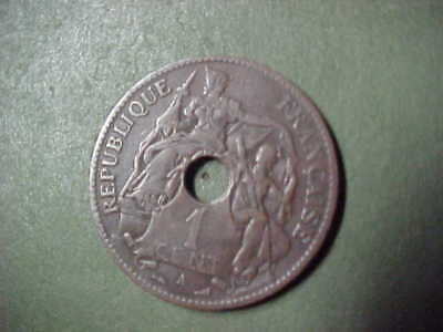 French Indochine Copper 1 Cent 1903 A Coin > Very Good Plus Condition <Nr>
