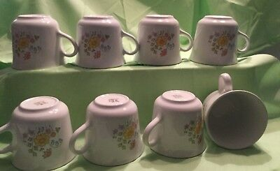 "Corelle Corning Spring Meadow Flowers 3"" Set of Coffee Tea Cups Mugs"