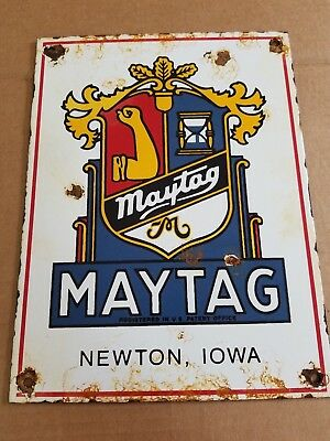 Maytag Newton Iowa Porcelain Sign washing machine hit n miss Engine Farm Gas Oil