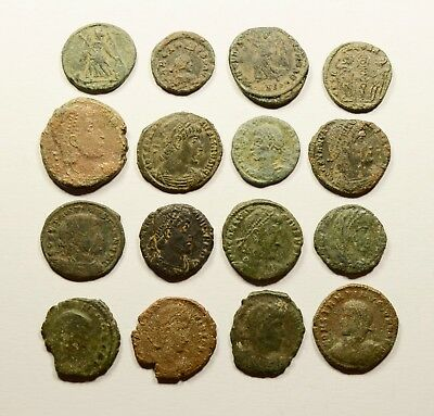 Lot Of 16 Imperial Roman Bronze Coins For Identifying - 026