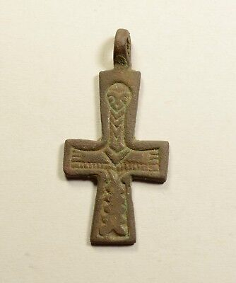 Byzantine Bronze Cross - Religious Artifact - Image Of Jesus On Both Sides
