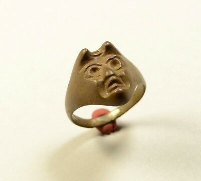 Amazing & Very Rare (Post) Medieval Bronze Ring With Devil - Wearable