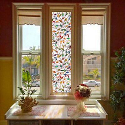 3D Leaf Static Decorative Glass Frosted Window Film Privacy Block Decor 45x100cm