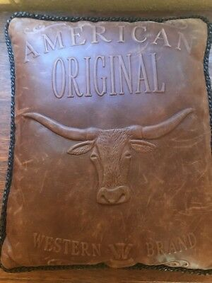 American Original Western Brand W Leather Pillow