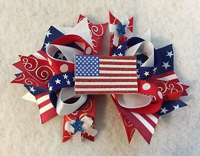 "4"" x 5"" Handmade 4th of July Hair Bow"
