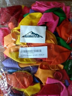 MESHA 12 Inches Assorted Color Party Balloons 144 Pcs - USA SELLER