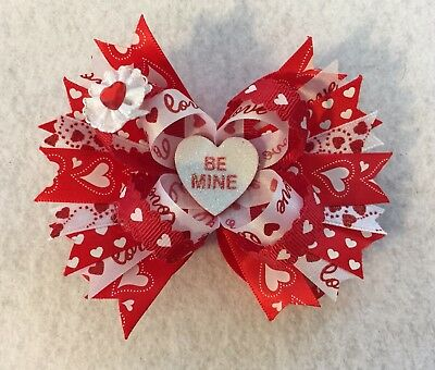 "3 1/2"" x 4"" Handmade Valentines Day Hair Bow"