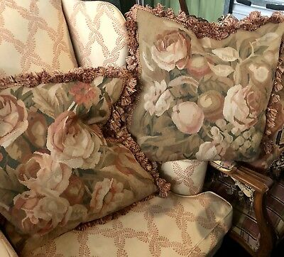 Pair Of French Handmade Aubusson Large Pillows 22x22, Fabulous