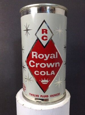 Vintage Royal Crown Cola 12 Oz Steel Can, MiraCan, White with Stars