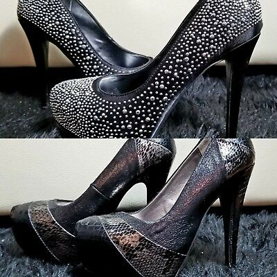 Lot of 2 Women's shoes Sz 5.5. Snake Print Platform Heel and black satin shoes.