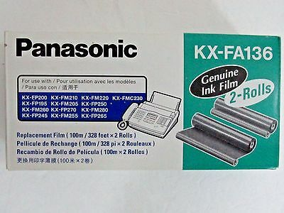 NEW Genuine PANASONIC KX-FA136 INK FILM ROLLS x2 ~ Replacement FAX COPY MACHINE