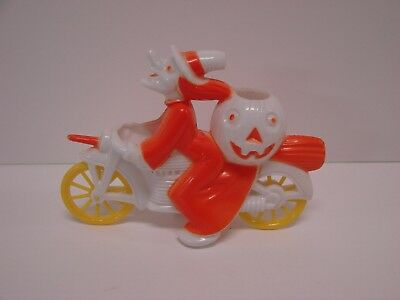 1952 Tico Toys Rosbro Orange WHITE Witch on Motorcycle Halloween Candy Container